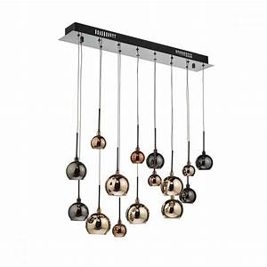 Decorative light pendant cluster with copper glass shades
