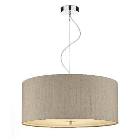 circular taupe silk light shade pendant with drop