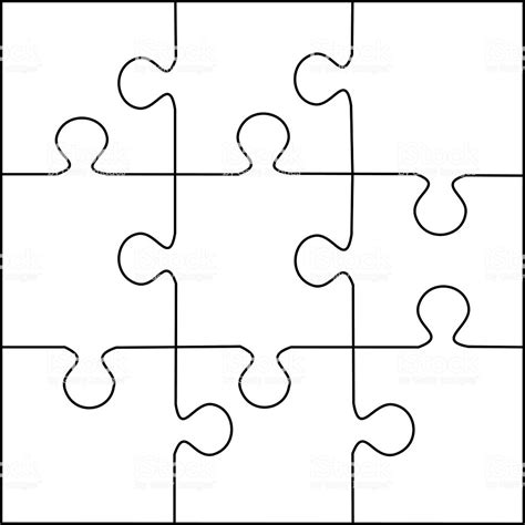 Jigsaw Puzzle Template For Word by Puzzle Template 9 Pieces Vector Stock Vector More