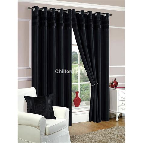 denver faux silk fully lined black eyelet curtains