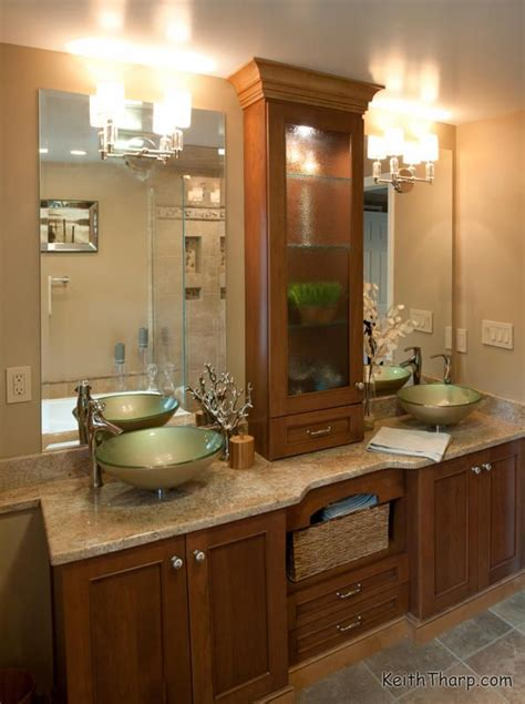dura supreme cabinetry granite countertops  glass vessel sinks complete  custom master