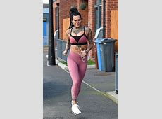 Jemma Lucy displays her peachy posterior in gym leggings