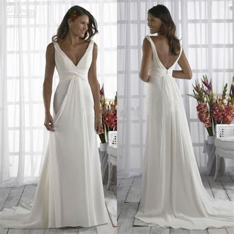 Simple Cheap Wedding Dresses Cheap Casual V Neck Plus Size