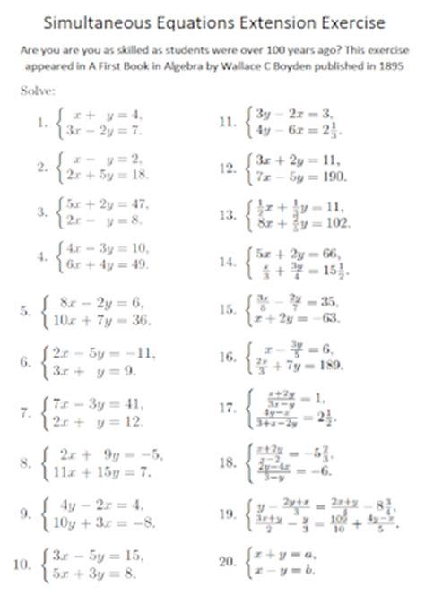 simultaneous equations extension exercise a transum