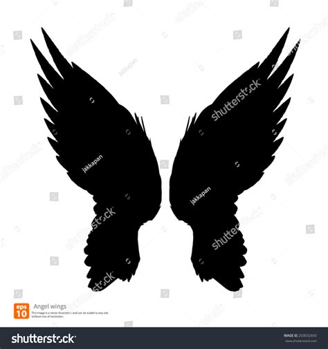 New Angel Wings Silhouette Vector Design Stock Vector