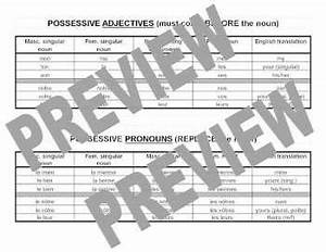 French Possessive Adjectives And Pronouns 2 Charts By