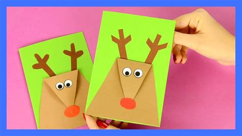 reindeer christmas card simple christmas craft  kids