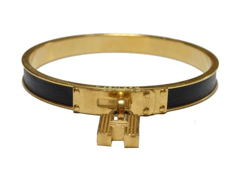 Auth Hermes H-logo Bangle Bracelet Black Leather/goldtone