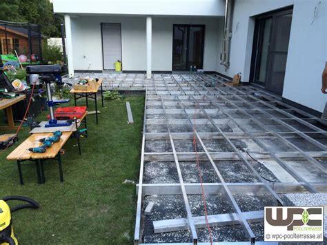 aufbau wpc terrasse bilder wpc aluminium alu unterkonstruktion f 252 r terrassendielen wpc terrasse balkon wpc