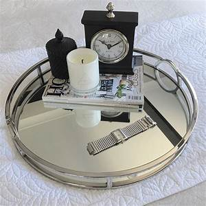 Round Silver Mirror Tray With Arch Handle XLarge