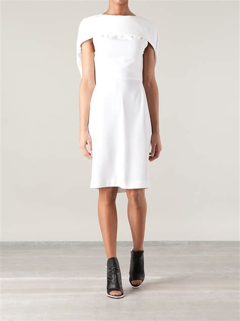 balenciaga cape sleeve dress  white lyst