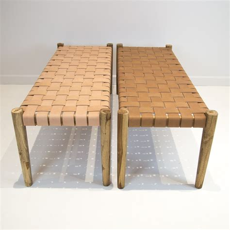 natural leather weave bench  woodworking workbench