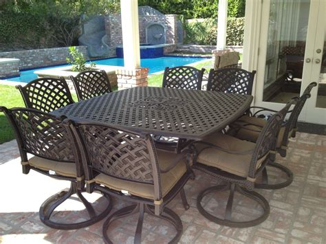 Patio Table Set by Nassau Cast Aluminum Powder Coated 9pc Outdoor Patio