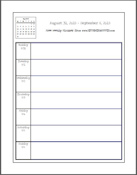 blank printable weekly school planner student handouts