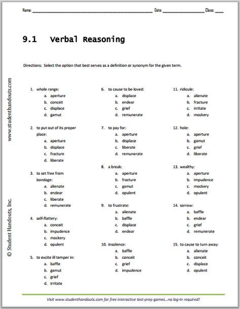 verbal reasoning worksheets year 5 vocabulary list 9 1 verbal reasoning worksheet student