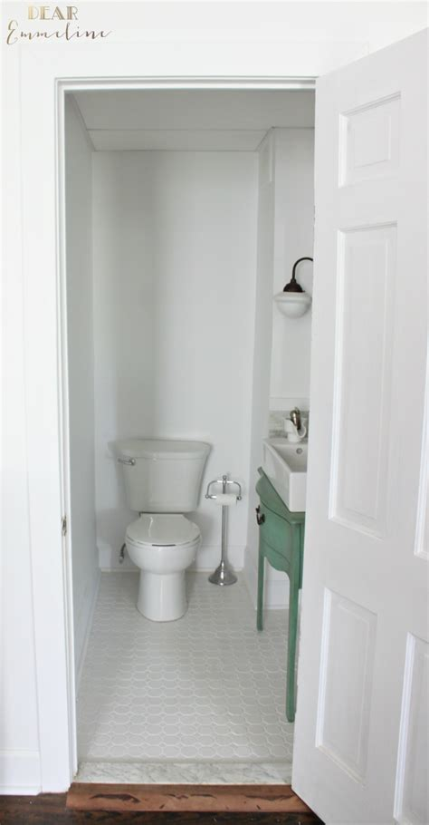 small narrow half bathroom ideas narrow half bathroom reveal 1910 home renovation