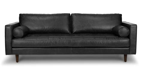 How To Clean Leather Settee by Black Leather Tufted Sofa Wooden Legs Article Sven