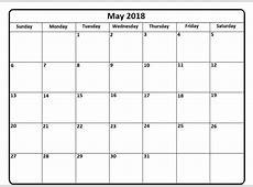 Mayo 2018 Calendario Español con vacaciones Imprimible