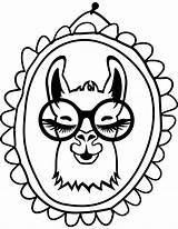 Llama Coloring sketch template