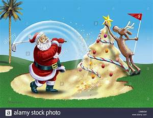 Santa Claus On Golf Course Santa Claus Weihnachtsmaenner