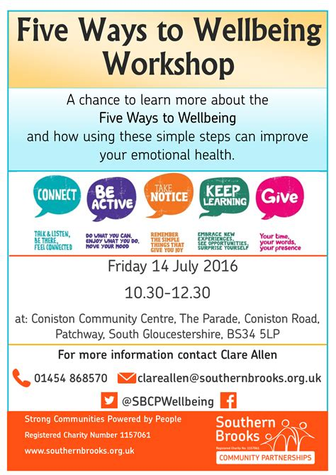 Five Ways To Wellbeing Workshop  Southern Brooks