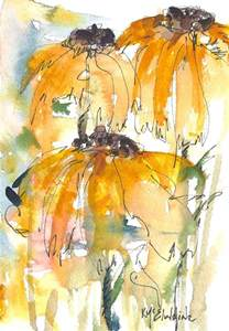Abstract Watercolor Painting Sunflowers