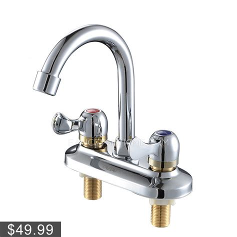 simple two holes two handles bathroom sink faucet