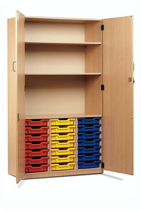 Cupboard Shelves by Tray Storage Cupboard 21 Shallow Trays 2 Shelves With