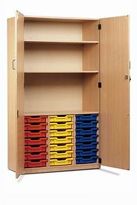 Tray, Storage, Cupboard, 21, Shallow, Trays, 2, Shelves, With, Full, Locking, Doors