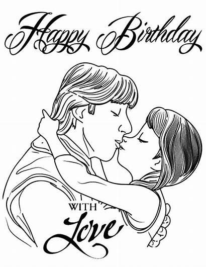 Coloring Kristoff Anna Pages Kiss Princess Kissing