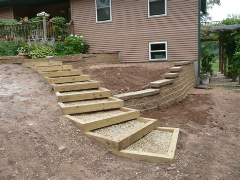 enclosed gravel and wood steps for between the driveway