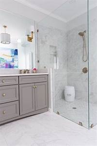 Grey, And, White, Porcelain, Marble, Like, Shower, Tiles, -, Contemporary, -, Bathroom
