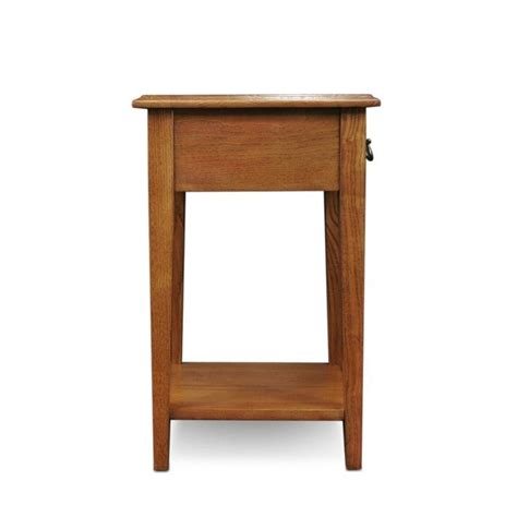 leick furniture shaker square end table in medium oak