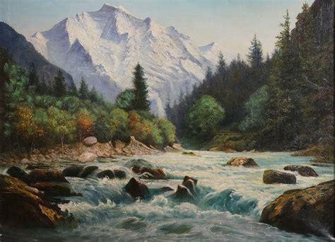 Mountain Scene, Canadian Rockies By Artist Unknown