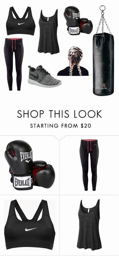 Boxing Polyvore Outfits Kickboxing Clothing Workout Nike