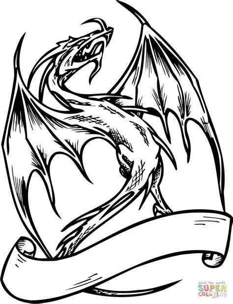dragon  banner coloring page  printable coloring pages