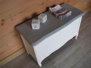 Coffre Jouet Blanc : coffre jouet blanc et gris commande photo de relook s sur commande patines couleurs ~ Teatrodelosmanantiales.com Idées de Décoration