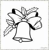 Christmas Coloring Bells Pages Printable Funny Jingle Bell Preschool sketch template