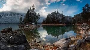 Alps, Bavaria, Mountain, With, Fir, Trees, Reflection, On, Lake