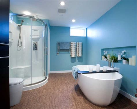 beautiful blue paint color ideas for bathrooms with glass