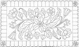 Patterns Rug Hooking Antique Coloring Needle Punch Pattern Floral Rughook Embroidery sketch template