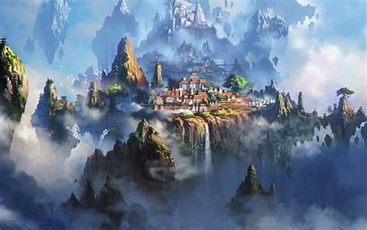 Anime Fantasy 4k Cloud Town Wallpapers Illustration