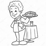 Waiter Pages Coloring Colouring Template sketch template