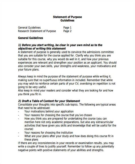 statement of purpose template 10 statement of purpose exles sles pdf word pages