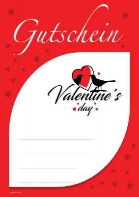gutschein valentines day rot vorlage muster zum