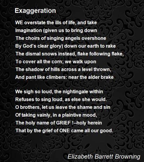 exaggeration poem  elizabeth barrett browning poem hunter
