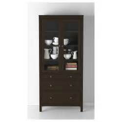hemnes glass door cabinet with 3 drawers black brown