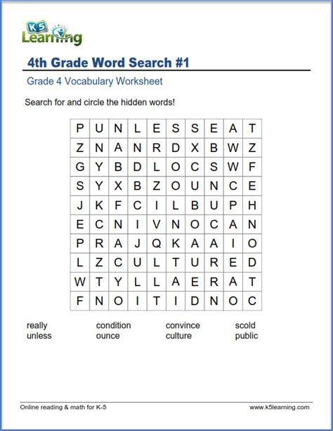 Grade 4 Vocabulary Worksheet  Word Search  K5 Learning