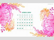 April 2018 Calendar Cute Printable