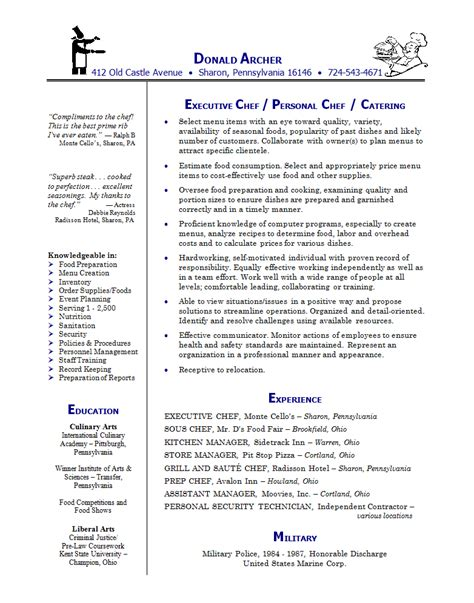 Resume For Chef by Doc 500708 Exles Chef Resumes Chef Resume Exle Culinary Arts Sle Bizdoska